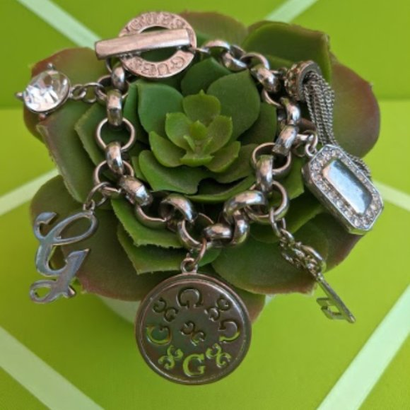 Guess G Charm + Crystal Toggle Bracelet Silvertone